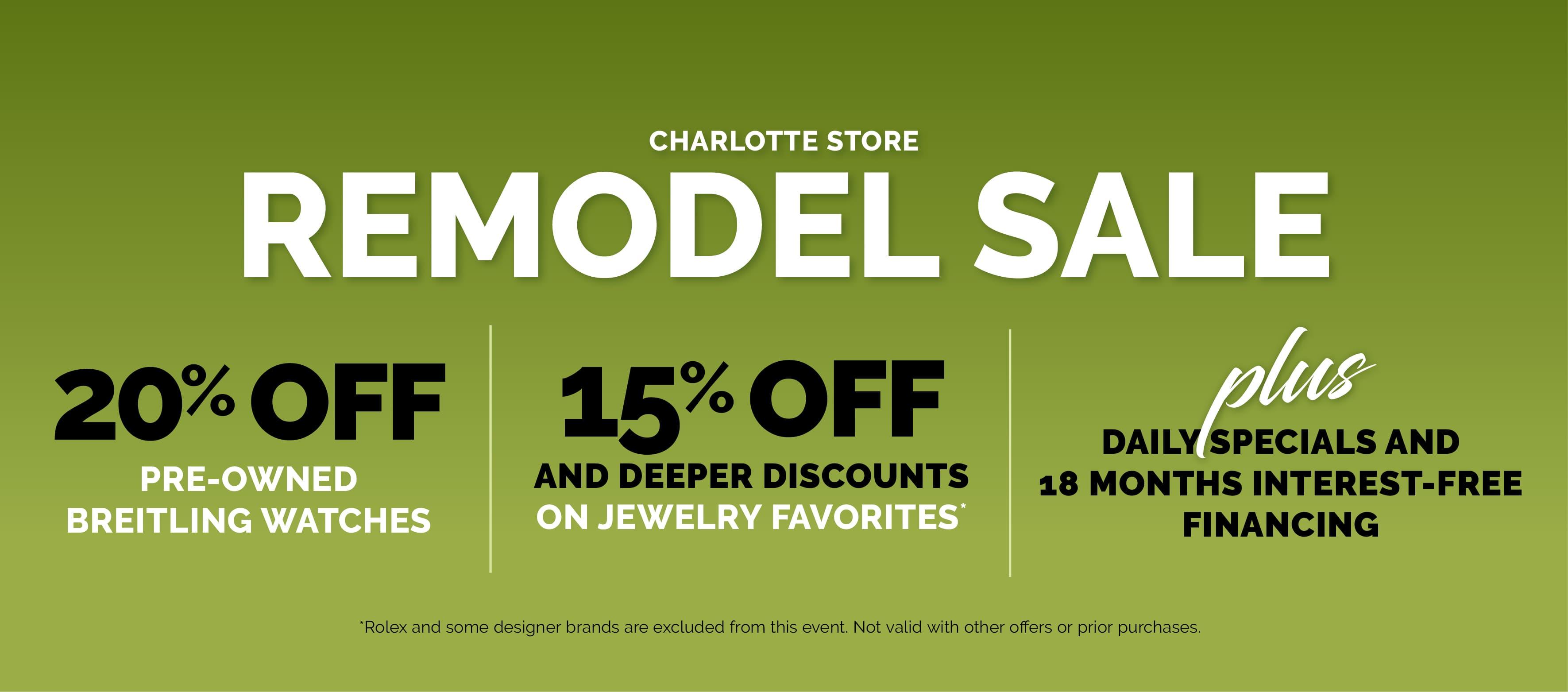 Charlotte Store Remodel Sale